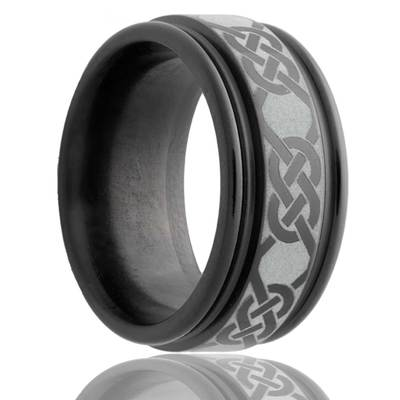 Black Zirconium Celtic Ring