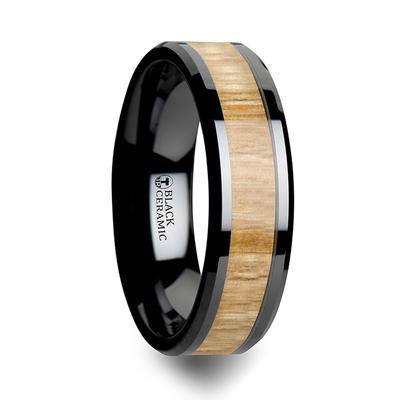 Black Ceramic Ring Beveled Edges Ash Wood