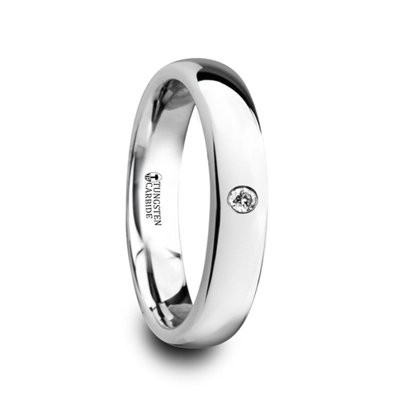 GABRIELLE | Women's Wedding Ring | White Tungsten | White Diamond | 4mm & 6mm - TCRings.com