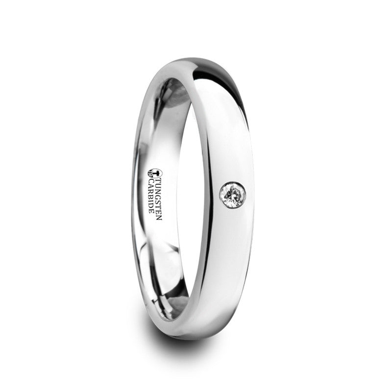 GABRIELLE | Polished and Domed Tungsten Carbide Ring with White Diamond | 4mm & 6mm - TCRings.com