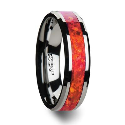 Tungsten Wedding Ring Red Opal Inlay