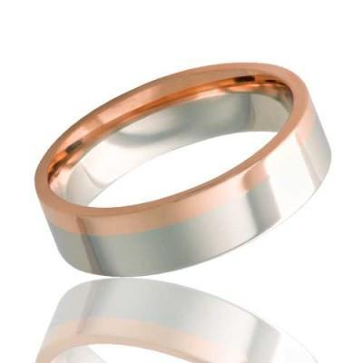 Gold Wedding Ring | 14k White and Rose Gold