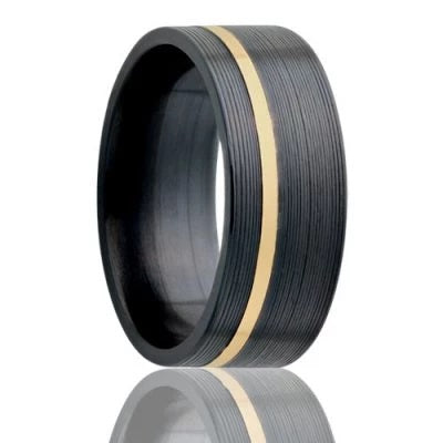 GIALLO | Black Wedding Ring | Zirconium | Gold Inlay | 6mm, 7mm & 8mm