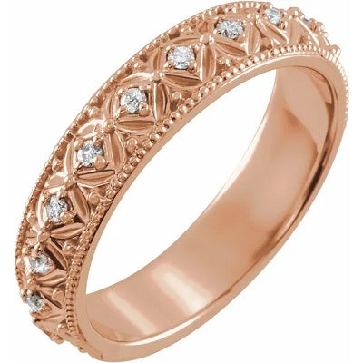 Women's Diamond Wedding Ring 14k Rose Gold