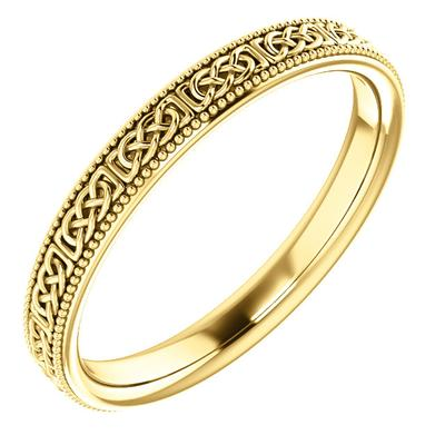 Celtic-Inspired Gold Wedding Band Yellow