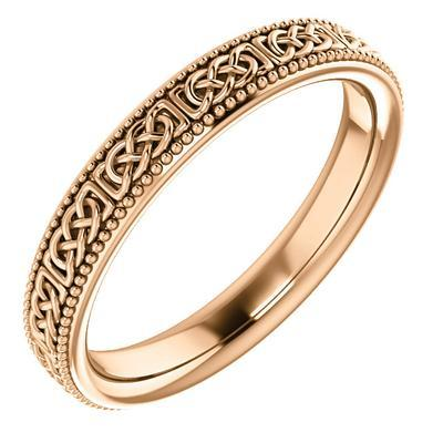 Celtic-Inspired Gold Wedding Band Rose