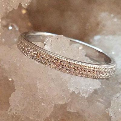 Celtic-Inspired Gold Wedding Ring White on Crystals