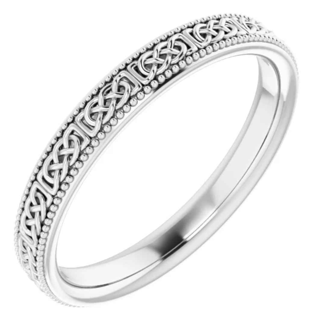 Celtic-Inspired Gold Wedding Band White