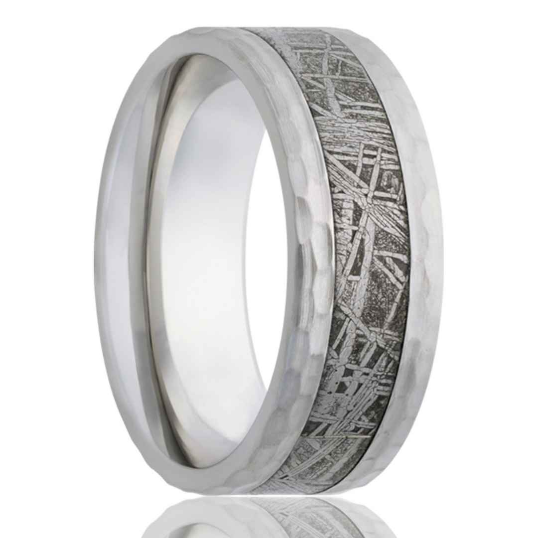 Men's cobalt wedding ring with meteorite inlay