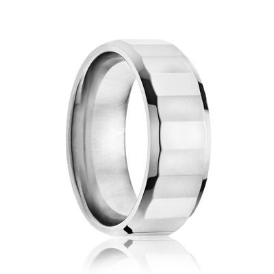 Men's Tungsten Ring with Faceted Surface