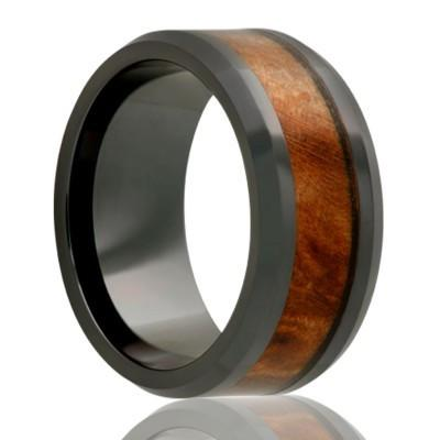 Black Ceramic Ring with Burl Wood Inlay