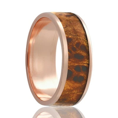 Men's Rose Gold Wedding Band | 14k Gold with Burl Wood Inlay