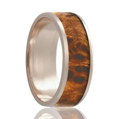 Men's White Gold Wedding Band | 14k Gold with Burl Wood Inlay
