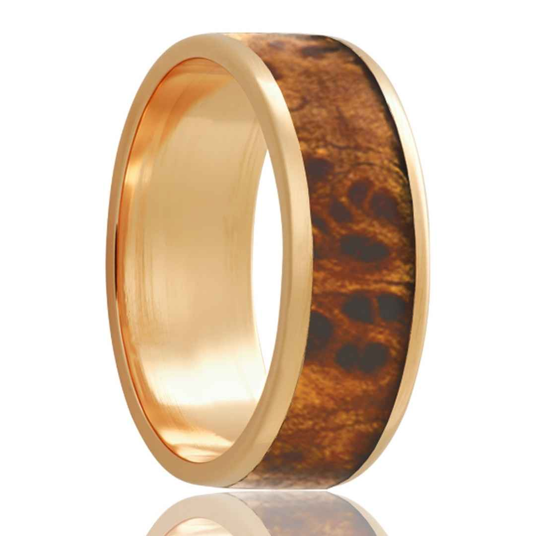 Men's Yellow Gold Wedding Band | 14k Gold with Burl Wood Inlay