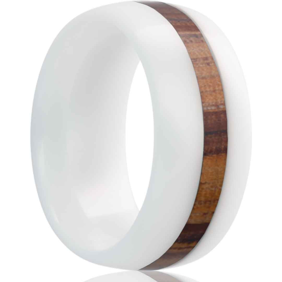 GREVY | WHITE WEDDING BAND | ZEBRA WOOD INLAY | 8MM