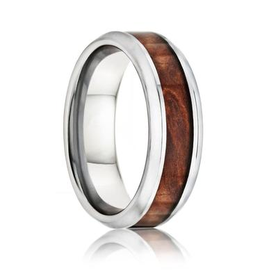 Tungsten Wedding Band with Burl Wood Inlay