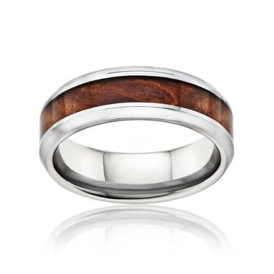 Men's Tungsten Wedding Ring with Burl Wood Inlay