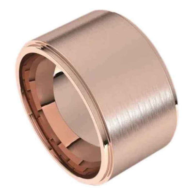 Extra wide mens Wedding ring in 14K gold. 12mm wide ring. ROSE gold.