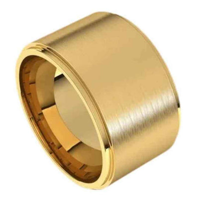 Extra wide mens Wedding ring in 14K gold. 12mm wide ring. YELLOW gold.