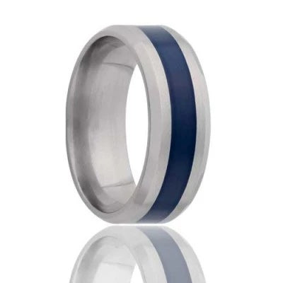 Unique Wedding Ring Titanium with Inlay