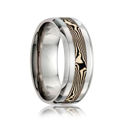 Cobalt Wedding Band with Mokume Inlay