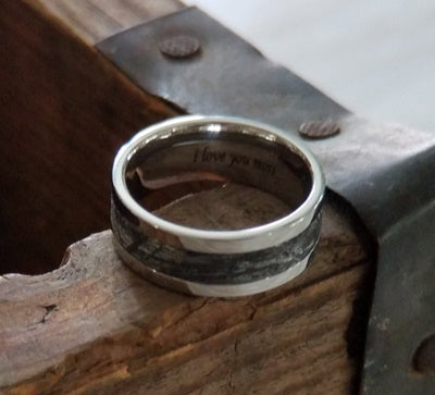 Cobalt Wedding Ring with Meteorite Inlay