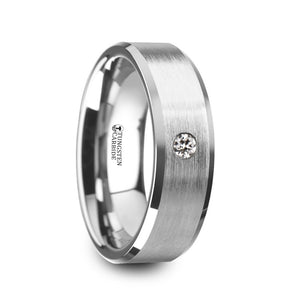 GRAYSON | Tungsten Carbide Ring, White Diamond Setting, Brushed Finish, Beveled Edges | 6mm & 8mm - TCRings.com