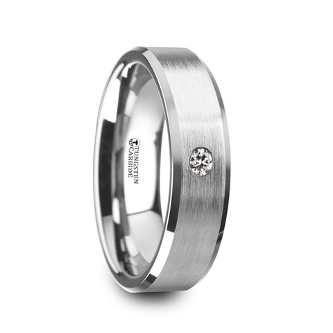 GRAYSON    Brushed Finish Tungsten Carbide Ring with White Diamond Setting & Beveled Edges    |    6mm & 8mm - TCRings.com