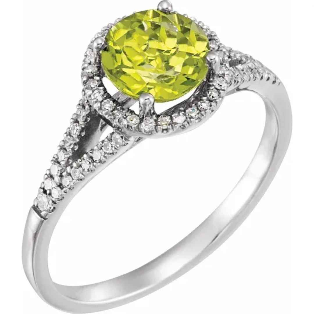 Women's peridot engagement ring