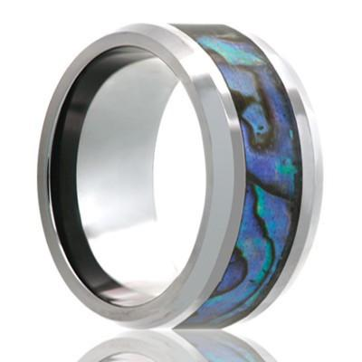 Cobalt Wedding Ring with Abalone Shell Inlay