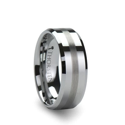 Tungsten Wedding Band with Brushed Stripe