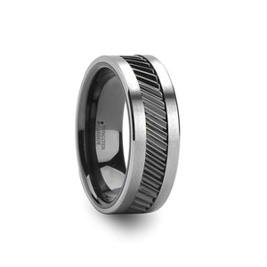 HAMMOND | Tungsten Carbide Ring | Gear Tooth Pattern Inlay | 6mm, 8mm & 10mm - TCRings.com