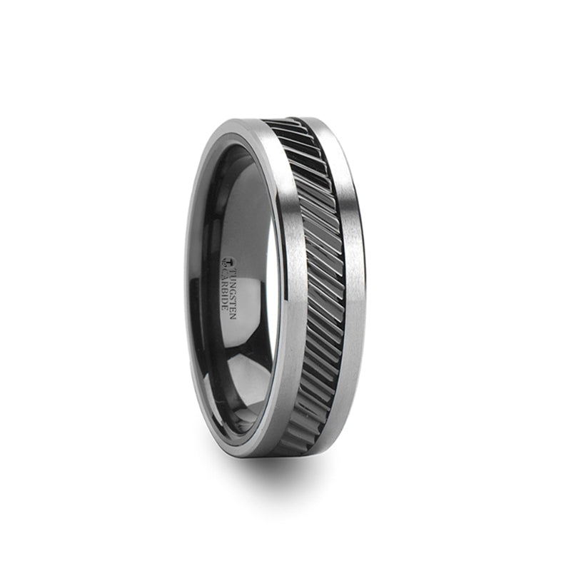 HAMMOND | Unique Tungsten Ring | Gear Tooth Pattern Inlay | 6mm, 8mm & 10mm - TCRings.com