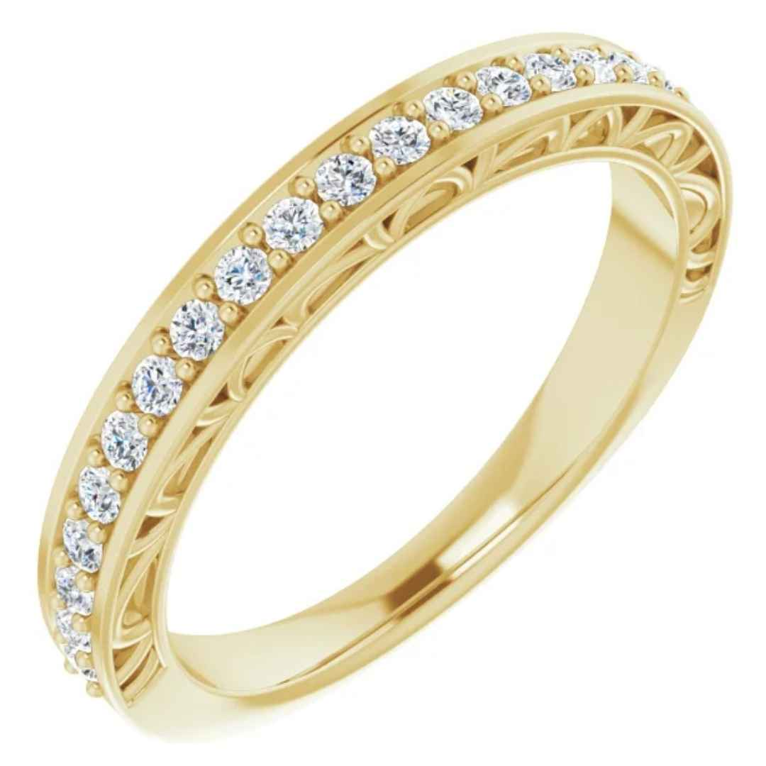 Women's 14k yellow gold diamond wedding ring