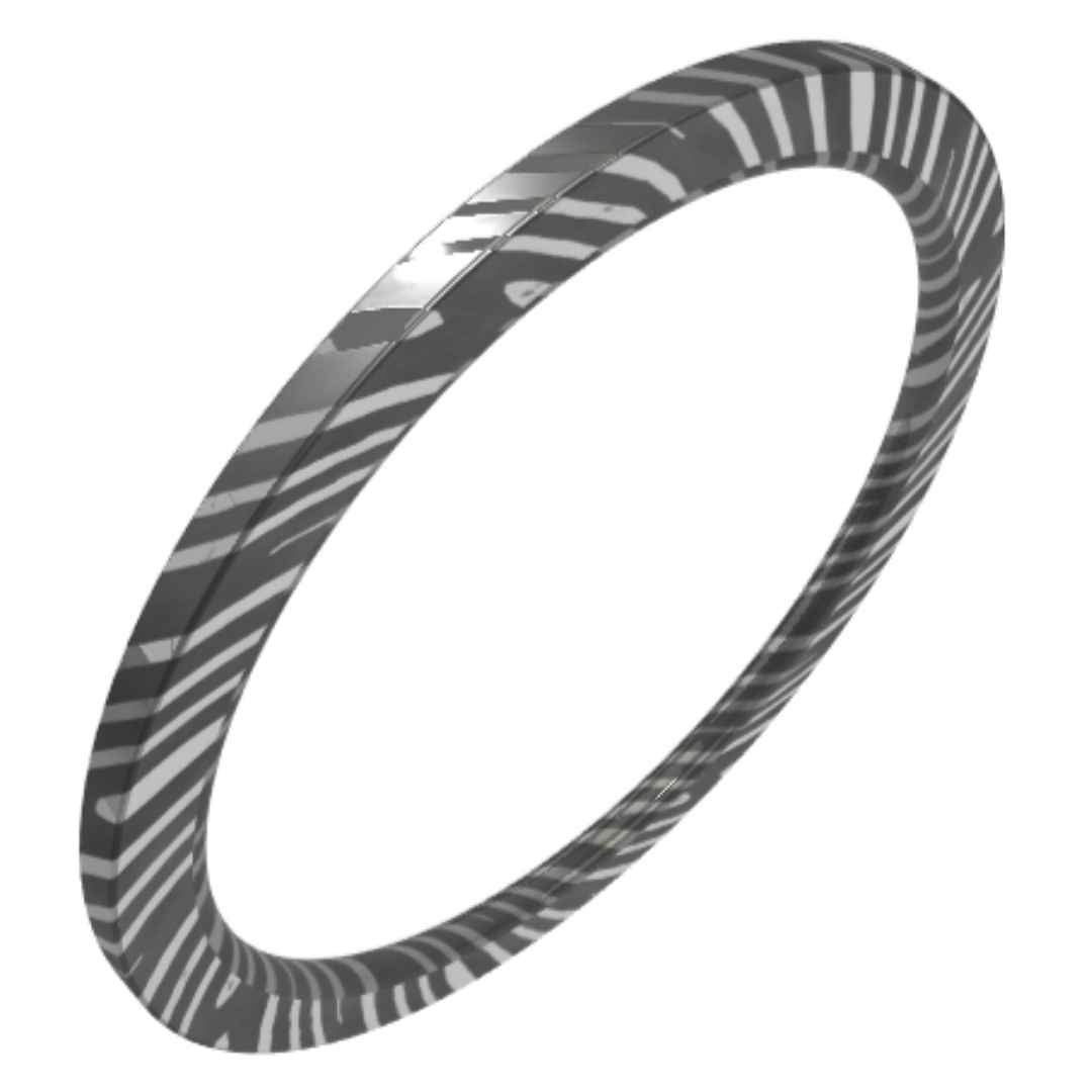 Women's Damascus Steel Wedding Ring 1mm width