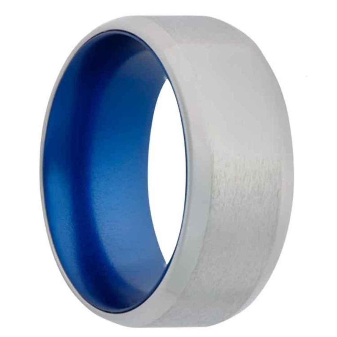Men's cobalt wedding ring with blue inlay and beveled edges