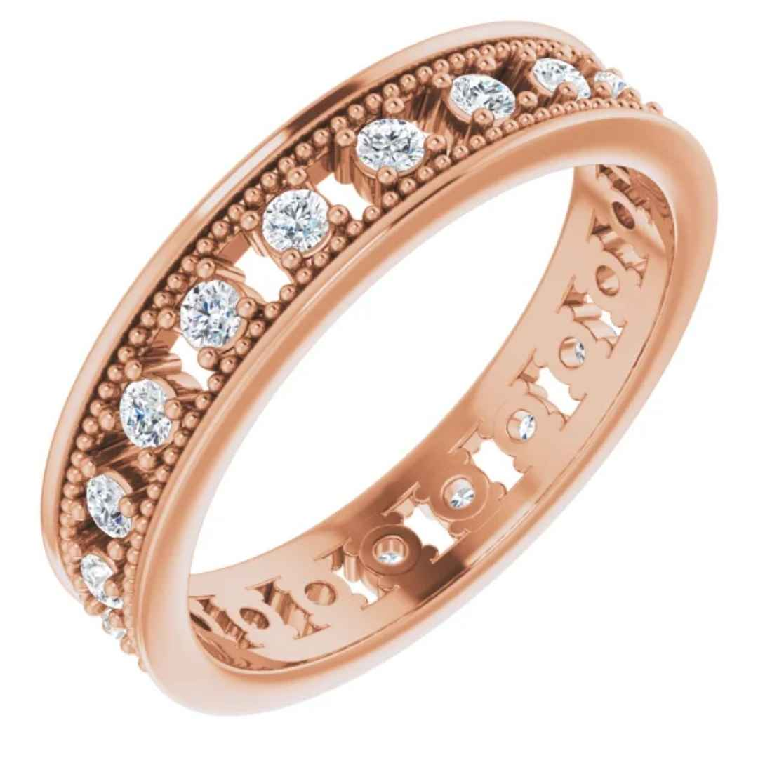 Women's 14K rose gold diamond eternity wedding ring