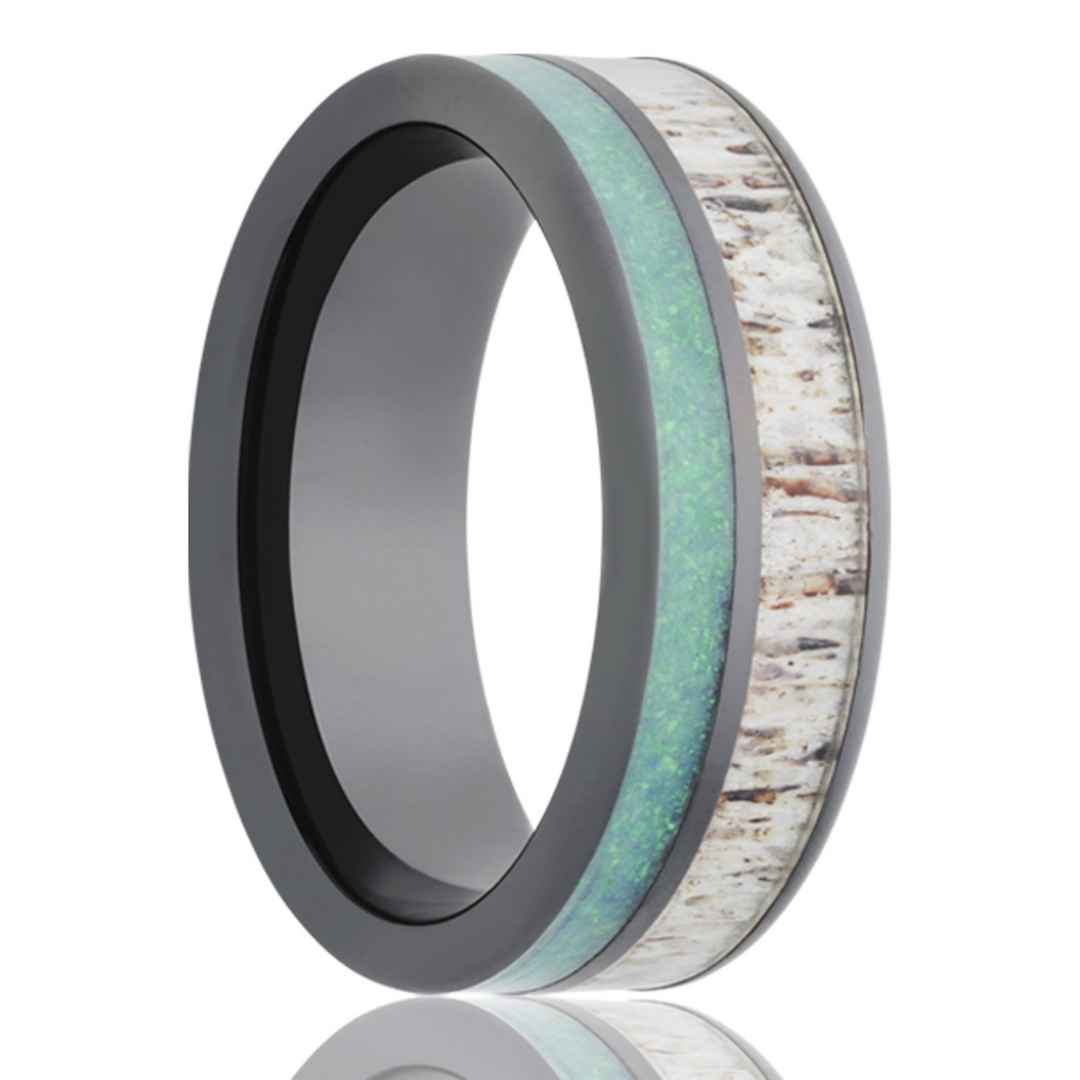 Men's Black Ceramic Wedding Ring with Opal and Antler Inlay