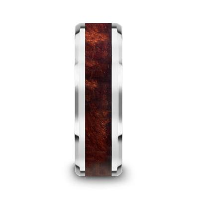 Men's Tungsten Wedding Ring Redwood Inlay