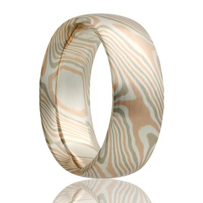 Gold Wedding Band 14k Gold Mokume Design