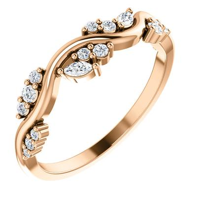 Women's 14k Rose Gold Ring with Diamonds
