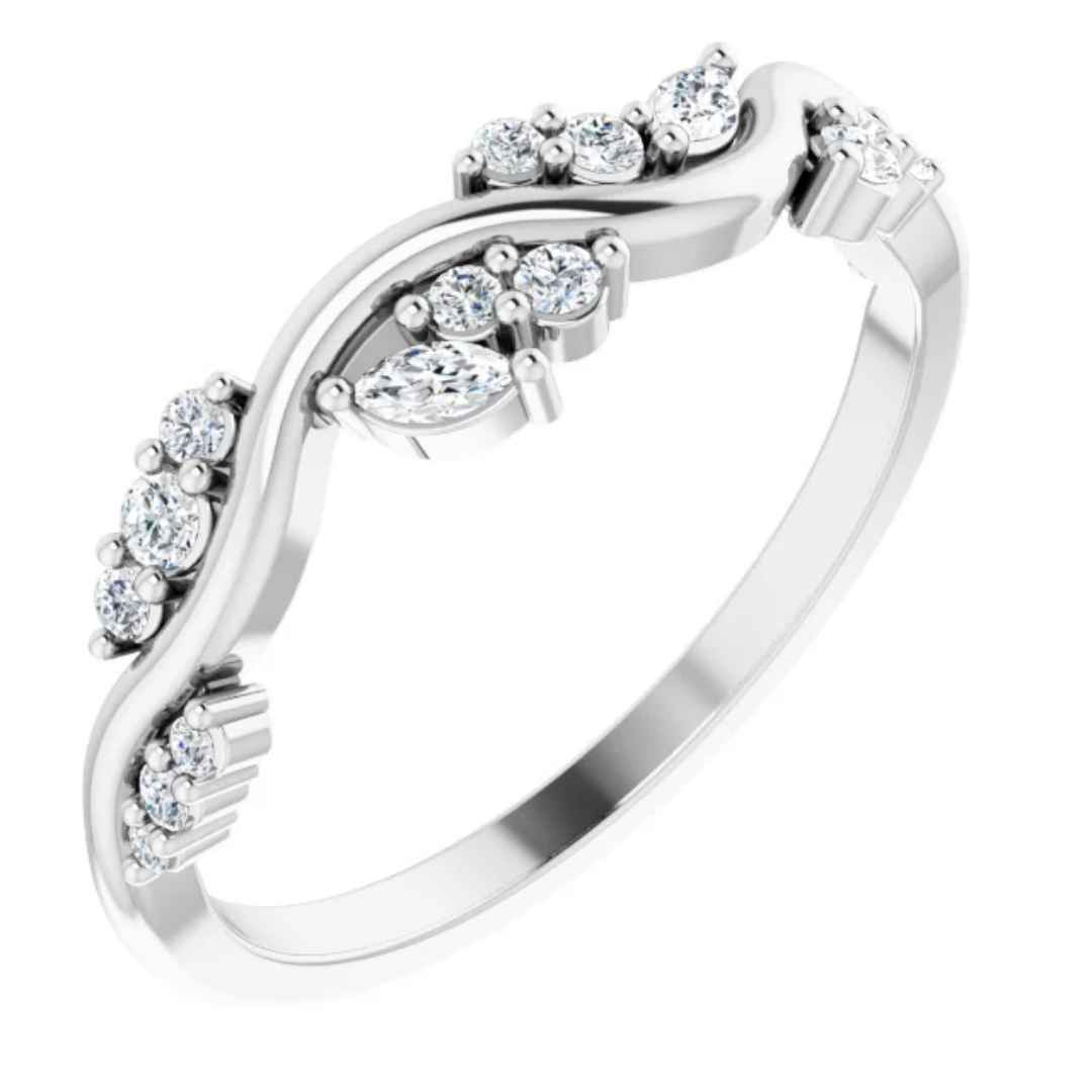 Women's 14k White Gold Ring with Diamonds