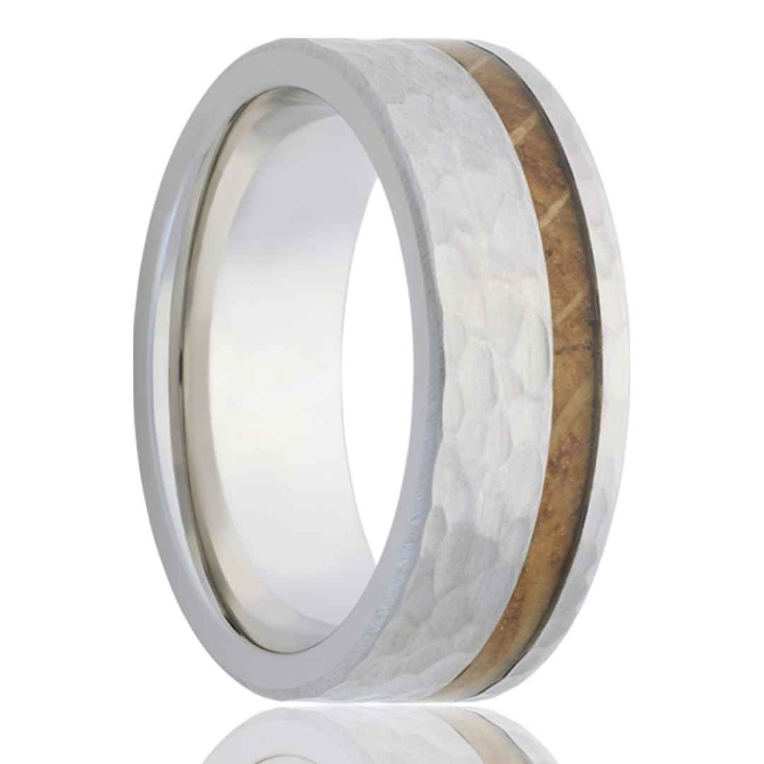 Mens wedding band of hammered cobalt with whiskey barrel wood inlay