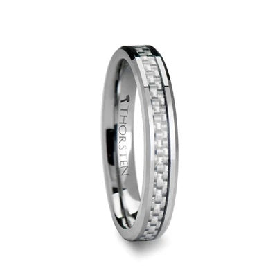 Tungsten Wedding Band with Carbon Fiber Inlay