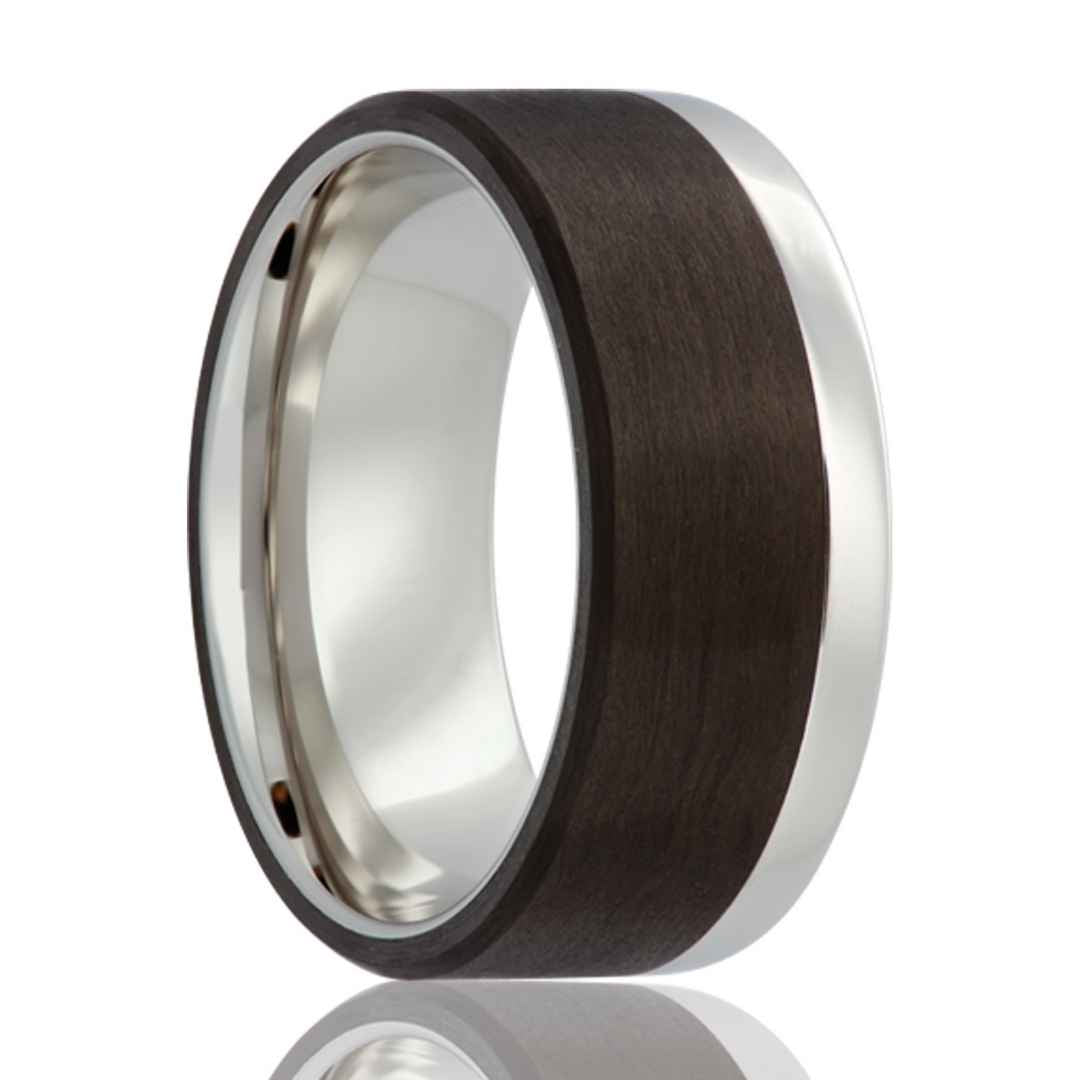 Men's cobalt wedding ring with carbon fiber overlay