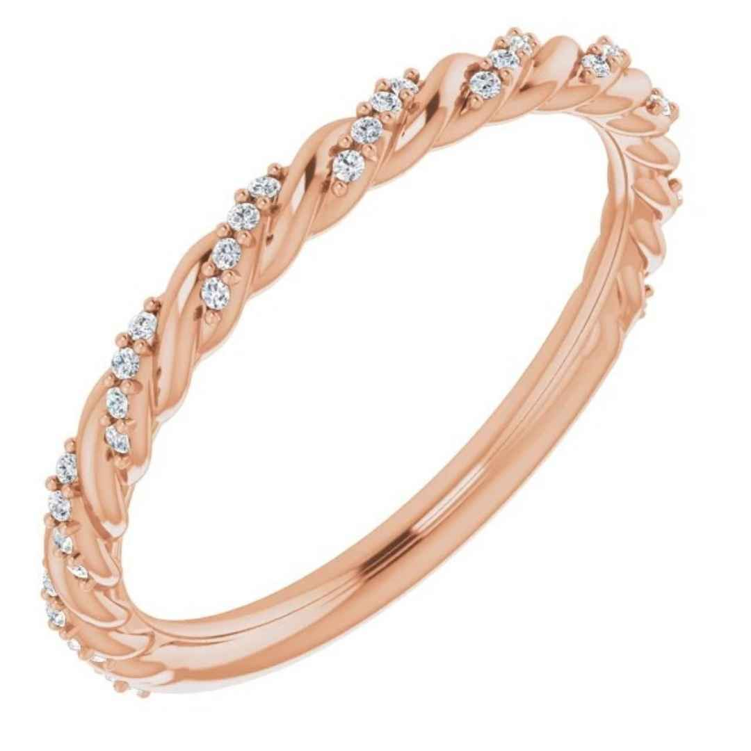 Women's 14K rose gold twisted diamond wedding ring