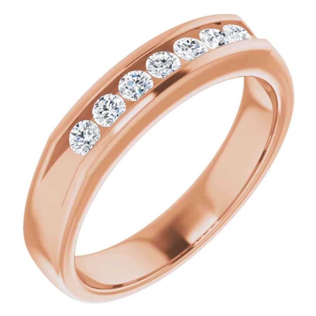 Men's 14K rose gold diamond wedding ring