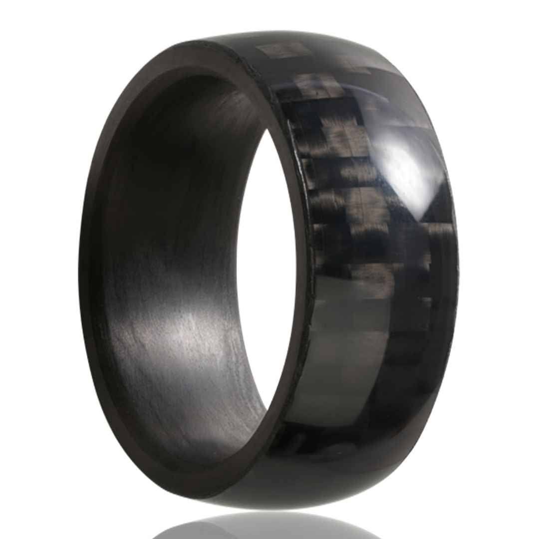 Men's carbon fiber wedding ring with woven pattern