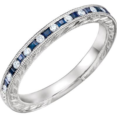 Women's Gold Wedding Band with Diamonds and Sapphires