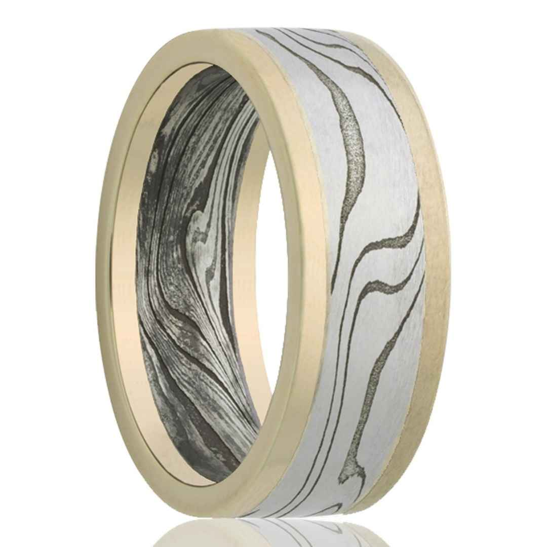 Men's 14K yellow gold with Damascus Steel inlay